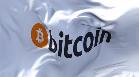 portafoglio : Bandiera del logo di Bitcoin che ondeggia nell'animazione del movimento lento del vento. 4K Realistic Fabric Texture Flag Smooth Blowing in una giornata ventosa Continuo Seamless Loop Background.
