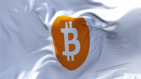 bitcoin accepted : bitcoin Round Flag Waving in Wind Slow Motion Animation . 4K Realistic Fabric Texture Flag Smooth Blowing on a windy day Continuous Seamless Loop Background. Stock Footage