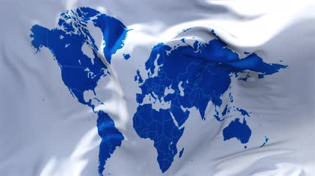 başkan : World Map Flag Waving in Wind Slow Motion Animation . 4K Realistic Fabric Texture Flag Smooth Blowing on a windy day Continuous Seamless Loop Background.