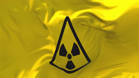 reactor : Radiation Nuclear Sign Flag Waving in Wind Slow Motion Animation . 4K Realistic Fabric Texture Flag Smooth Blowing on a windy day Continuous Seamless Loop Background.