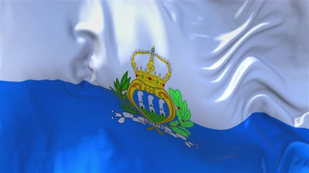 národnost : San Marino Flag Waving in Wind Slow Motion Animation . 4K Realistic Fabric Texture Flag Smooth Blowing on a windy day Continuous Seamless Loop Background.