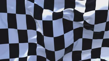 wimpel : Racing geruite vlag vlag zwaaien in wind Slow Motion animatie. 4K Realistische Fabric Texture Flag Smooth Blowing on a windy day Ononderbroken naadloze loop achtergrond. Stockvideo