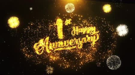 laur : 01st Happy Anniversary Text Greeting and Wishes card Made from Glitter Particles From Golden Firework display on Black Night Motion Background. for celebration, party, greeting card, invitation card.