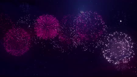 robbanás : Big Firecracker Bursts In The Sky During Beautiful Multiple shells streaks explosion Celebration Against Black Background for birthday, anniversary, celebration, Holiday, new year, Party, event Stock mozgókép