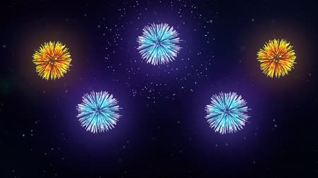 sky bomb : Colorful Fireworks Display on the Black Screen Background. Powerful Explosion of Pyrotechnics. Stock Footage