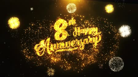 jubileu : 8th Happy Anniversary Text Greeting and Wishes card Made from Glitter Particles From Golden Firework display on Black Night Motion Background. for celebration, party, greeting card, invitation card.