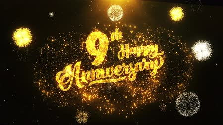 jubileu : 9th Happy Anniversary Text Greeting and Wishes card Made from Glitter Particles From Golden Firework display on Black Night Motion Background. for celebration, party, greeting card, invitation card.
