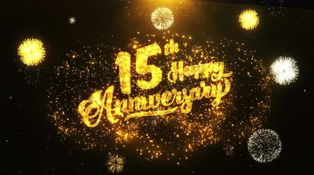 jubileu : 15th Happy Anniversary Text Greeting and Wishes card Made from Glitter Particles From Golden Firework display on Black Night Motion Background. for celebration, party, greeting card, invitation card.