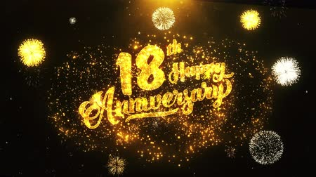 jubileu : 18th Happy Anniversary Text Greeting and Wishes card Made from Glitter Particles From Golden Firework display on Black Night Motion Background. for celebration, party, greeting card, invitation card.