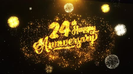 jubileu : 24th Happy Anniversary Text Greeting and Wishes card Made from Glitter Particles From Golden Firework display on Black Night Motion Background. for celebration, party, greeting card, invitation card. Stock Footage