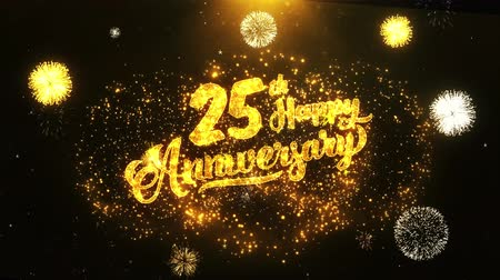 jubileu : 25th Happy Anniversary Text Greeting and Wishes card Made from Glitter Particles From Golden Firework display on Black Night Motion Background. for celebration, party, greeting card, invitation card.