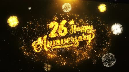 jubileu : 26th Happy Anniversary Text Greeting and Wishes card Made from Glitter Particles From Golden Firework display on Black Night Motion Background. for celebration, party, greeting card, invitation card.