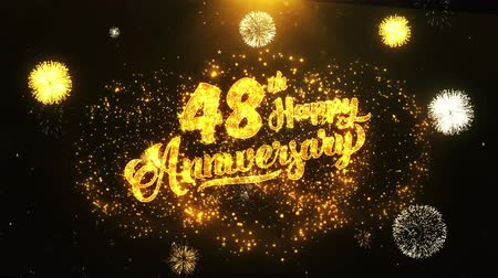 jubileu : 48th Happy Anniversary Text Greeting and Wishes card Made from Glitter Particles From Golden Firework display on Black Night Motion Background. for celebration, party, greeting card, invitation card.