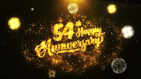 jubileu : 54th Happy Anniversary Text Greeting and Wishes card Made from Glitter Particles From Golden Firework display on Black Night Motion Background. for celebration, party, greeting card, invitation card.