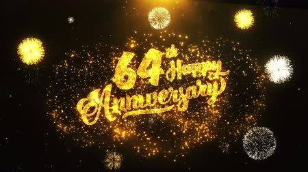 jubileu : 64th Happy Anniversary Text Greeting and Wishes card Made from Glitter Particles From Golden Firework display on Black Night Motion Background. for celebration, party, greeting card, invitation card.
