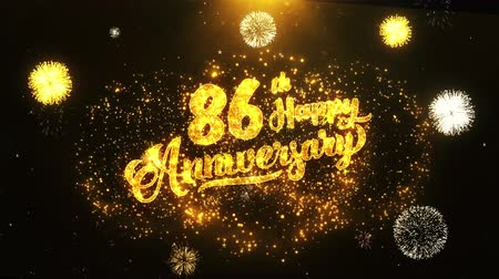 jubileu : 86th Happy Anniversary Text Greeting and Wishes card Made from Glitter Particles From Golden Firework display on Black Night Motion Background. for celebration, party, greeting card, invitation card.