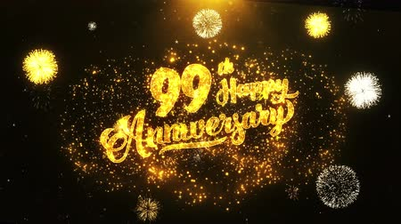 jubileu : 99th Happy Anniversary Text Greeting and Wishes card Made from Glitter Particles From Golden Firework display on Black Night Motion Background. for celebration, party, greeting card, invitation card.