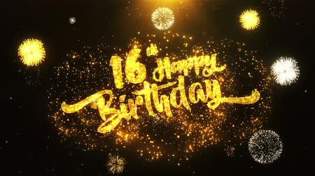laur : 16th Happy Birthday Text Greeting and Wishes card Made from Glitter Particles From Golden Firework display on Black Night Motion Background. for celebration, party, greeting card, invitation card.