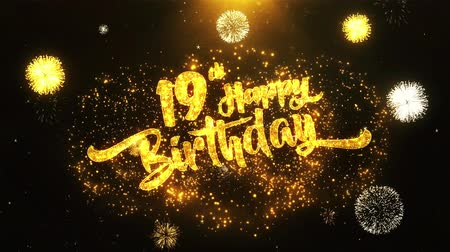 jubileu : 19th Happy Birthday Text Greeting and Wishes card Made from Glitter Particles From Golden Firework display on Black Night Motion Background. for celebration, party, greeting card, invitation card.