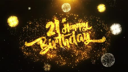 jubileu : 21st Happy Birthday Text Greeting and Wishes card Made from Glitter Particles From Golden Firework display on Black Night Motion Background. for celebration, party, greeting card, invitation card.