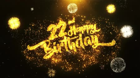 laur : 22nd Happy Birthday Text Greeting and Wishes card Made from Glitter Particles From Golden Firework display on Black Night Motion Background. for celebration, party, greeting card, invitation card.