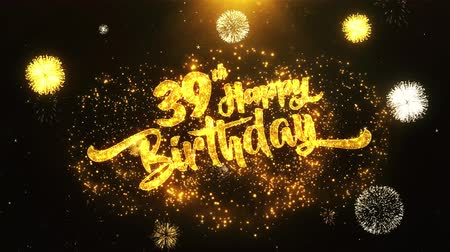 jubileu : 39th Happy Birthday Text Greeting and Wishes card Made from Glitter Particles From Golden Firework display on Black Night Motion Background. for celebration, party, greeting card, invitation card. Vídeos