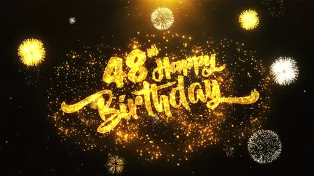 jubileu : 48th Happy Birthday Text Greeting and Wishes card Made from Glitter Particles From Golden Firework display on Black Night Motion Background. for celebration, party, greeting card, invitation card. Stock Footage