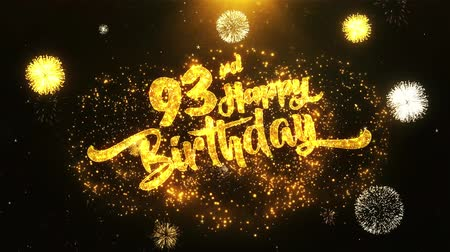 th : 93rd Happy Birthday Text Greeting and Wishes card Made from Glitter Particles From Golden Firework display on Black Night Motion Background. for celebration, party, greeting card, invitation card. Stock Footage