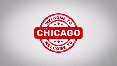 papírnictví : Welcome to CHICAGO Signed Stamping Text Wooden Stamp Animation. Red Ink on Clean White Paper Surface Background with Green matte Background Included. Dostupné videozáznamy