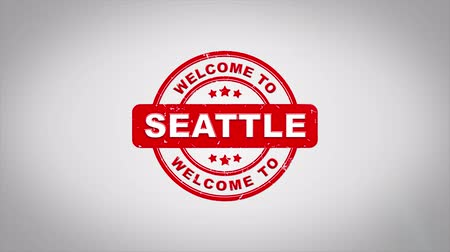 fardo : Welcome to SEATTLE Signed Stamping Text Wooden Stamp Animation. Red Ink on Clean White Paper Surface Background with Green matte Background Included. Vídeos
