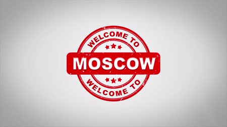regionální : Welcome to MOSCOW Signed Stamping Text Wooden Stamp Animation. Red Ink on Clean White Paper Surface Background with Green matte Background Included. Dostupné videozáznamy