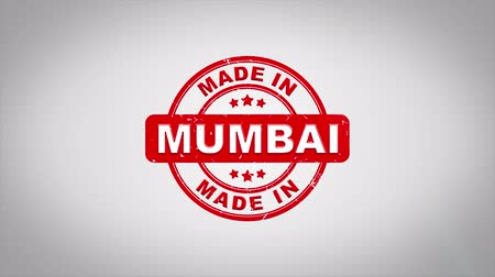 bombay : Made In MUMBAI Signed Stamping Text Wooden Stamp Animation. Red Ink on Clean White Paper Surface Background with Green matte Background Included. Stock Footage