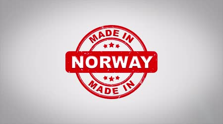 papírnictví : Made In NORWAY Signed Stamping Text Wooden Stamp Animation. Red Ink on Clean White Paper Surface Background with Green matte Background Included.
