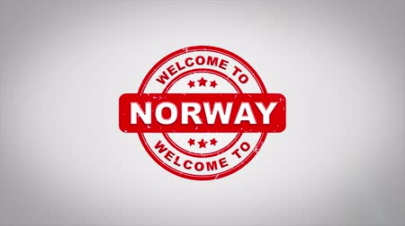 рыболовство : Welcome to NORWAY Signed Stamping Text Wooden Stamp Animation. Red Ink on Clean White Paper Surface Background with Green matte Background Included.