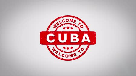 cigar : Welcome to CUBA Signed Stamping Text Wooden Stamp Animation. Red Ink on Clean White Paper Surface Background with Green matte Background Included. Stock Footage
