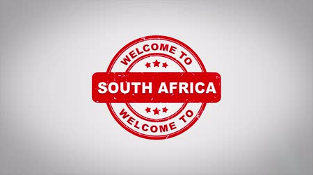 pretoria : Welcome to SOUTH AFRICA Signed Stamping Text Wooden Stamp Animation. Red Ink on Clean White Paper Surface Background with Green matte Background Included. Stock Footage