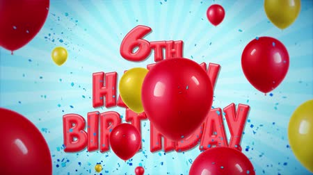 si přeje : 6th Happy Birthday RedText Appears on Confetti Popper Explosions Falling and Glitter Particles, Colorful Flying Balloons Seamless Loop Animation for Wishes Greeting, Party, Invitation, card. Dostupné videozáznamy