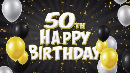 dilek : 50th Happy Birthday Black Text With Golden Confetti Falling and Glitter Particles, Colorful Flying Balloons Seamless Loop Animation for Greeting, Invitation card, Party, celebration, Festival. Stok Video
