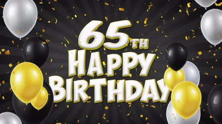 годовщина : 65th Happy Birthday Black Text With Golden Confetti Falling and Glitter Particles, Colorful Flying Balloons Seamless Loop Animation for Greeting, Invitation card, Party, celebration, Festival. Стоковые видеозаписи
