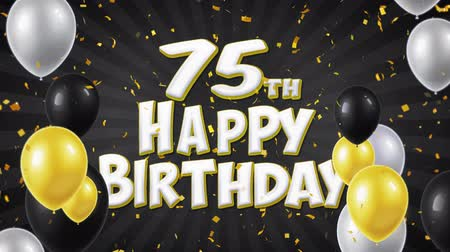si přeje : 75th Happy Birthday Black Text With Golden Confetti Falling and Glitter Particles, Colorful Flying Balloons Seamless Loop Animation for Greeting, Invitation card, Party, celebration, Festival.