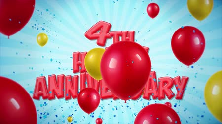 balão : 4th Happy Anniversary Red Text Appears on Confetti Popper Explosions Falling and Glitter Particles, Colorful Flying Balloons Seamless Loop Animation for Wishes Greeting, Party, Invitation, card.