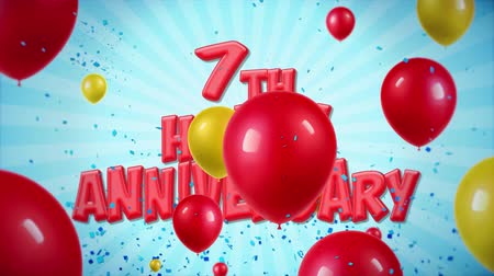 požehnání : 7th Happy Anniversary Red Text Appears on Confetti Popper Explosions Falling and Glitter Particles, Colorful Flying Balloons Seamless Loop Animation for Wishes Greeting, Party, Invitation, card.