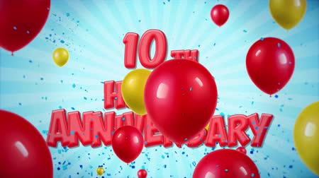 globos : 10mo feliz aniversario El texto rojo aparece en confeti Explosiones Popper Falling and Glitter Particles, Colorful Flying Balloons Seamless Loop Animación para deseos Greeting, Party, Invitation, card. Archivo de Video