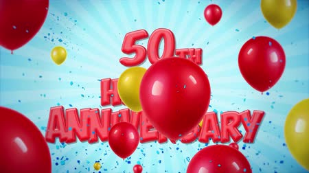 dilek : 50th Happy Anniversary Red Text Appears on Confetti Popper Explosions Falling and Glitter Particles, Colorful Flying Balloons Seamless Loop Animation for Wishes Greeting, Party, Invitation, card.
