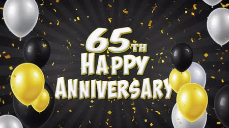 gratulací : 65th Happy Anniversary Black Text Appears on Confetti Popper Explosions Falling and Glitter Particles, Flying Balloons Seamless Loop Animation for Wishes Greeting, Party, Invitation, card.
