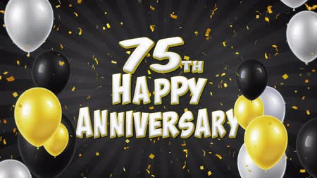 benedizione : 75th Happy Anniversary Black Text appare su Confetti Popper Explosions Caduta e particelle di glitter, Flying Balloons Seamless Loop Animazione per auguri Saluto, Party, Invito, carta.