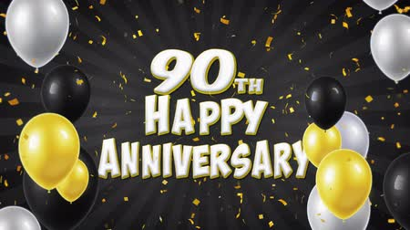 balões : 90th Happy Anniversary Black Text Appears on Confetti Popper Explosions Falling and Glitter Particles, Flying Balloons Seamless Loop Animation for Wishes Greeting, Party, Invitation, card.