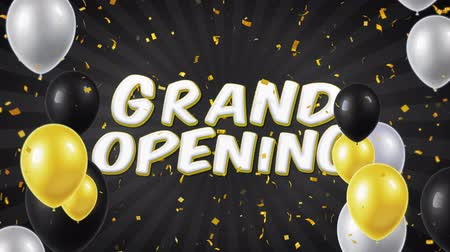 aperto cartello : Testo Grand Opening appare su Confetti Popper Explosions Particelle cadenti e scintillanti, Colorful Flying Balloons Seamless Loop Animation.