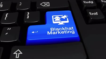 поисковая оптимизация : Blackhat Marketing Round Motion On Blue Enter Button On Modern Computer Keyboard with Text and icon Labeled. Selected Focus Key is Pressing Animation. Hacking Security Concept
