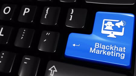 поисковая оптимизация : Blackhat Marketing Moving Motion On Blue Enter Button On Modern Computer Keyboard with Text and icon Labeled. Selected Focus Key is Pressing Animation. Hacking Security Concept Стоковые видеозаписи